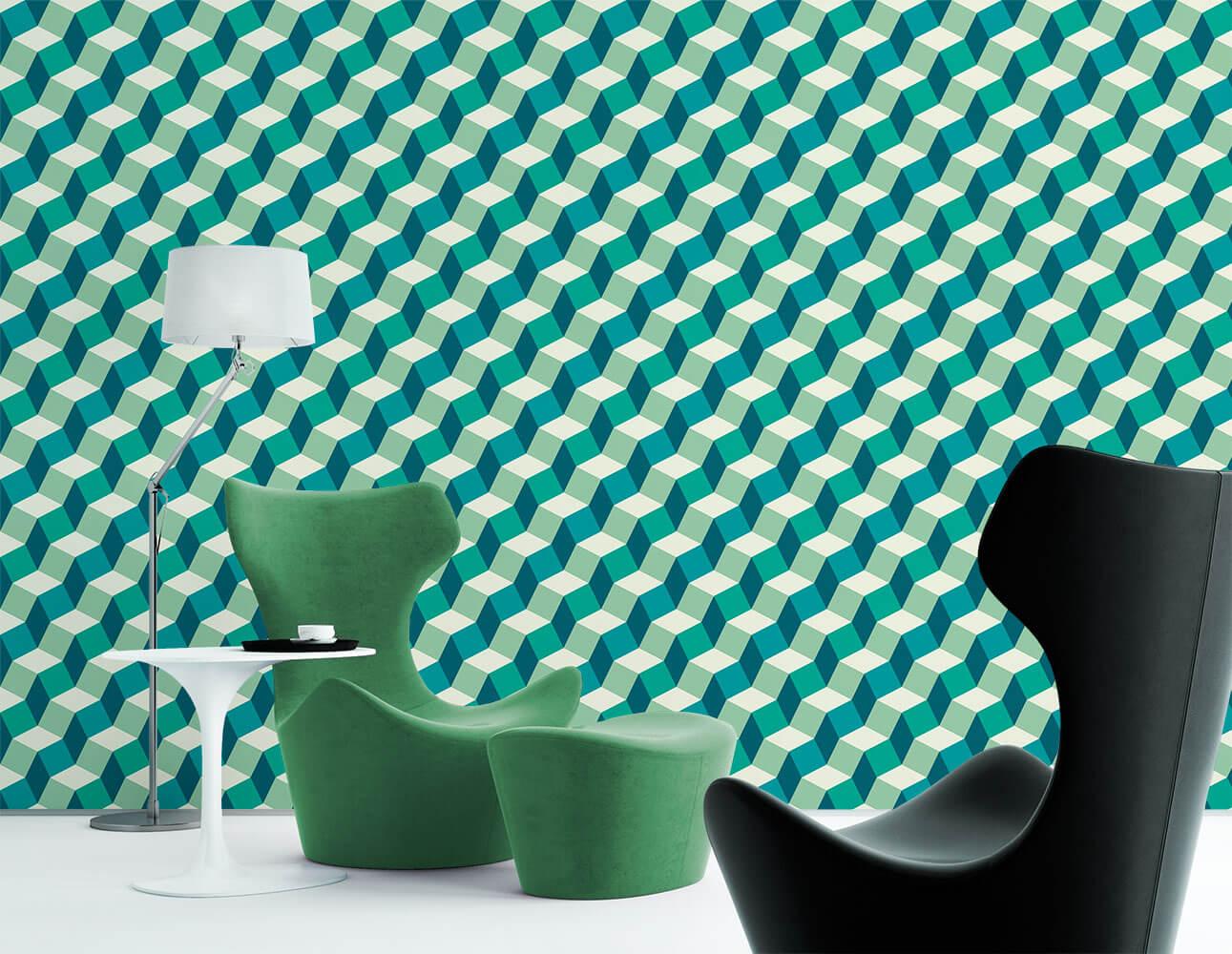 Papel de Parede 3D - Geométrico 3D Verde e Branco 3
