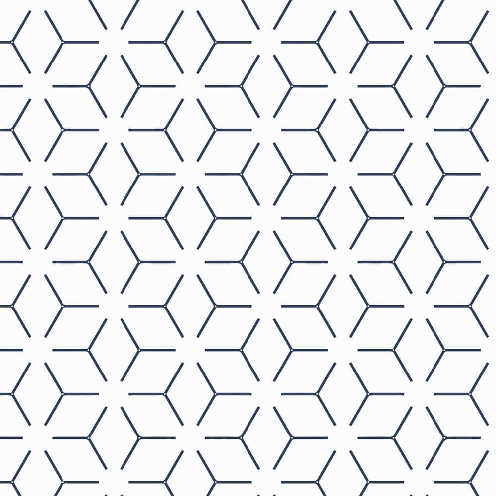 Papel de Parede Geométrico Azul e Branco 2