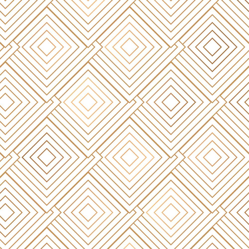 Papel de Parede Geométrico Branco e Dourado