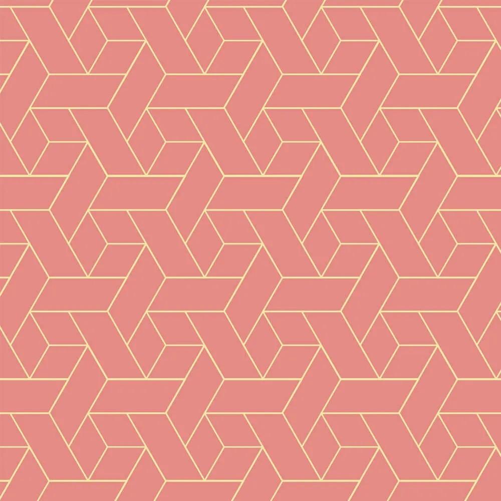 Papel de Parede Geometrico Rosa e Dourado