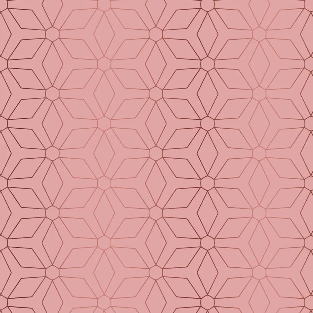 Papel de Parede Geométrico Rose Gold 1