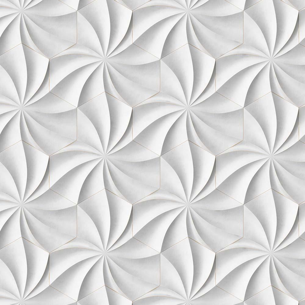 Papel de Parede Hexagono Gesso 3D 1