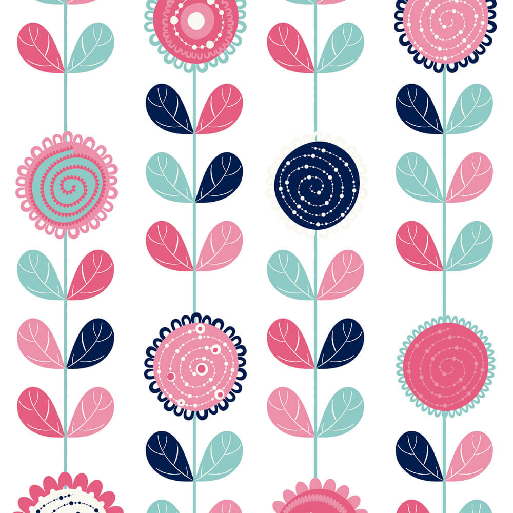 Papel de Parede Infantil Flores Abstratas