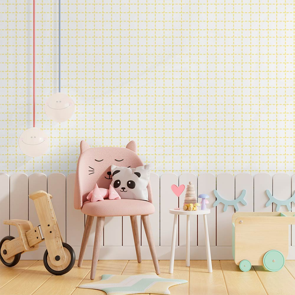 Papel de Parede Infantil - Quadriculado Traços Amarelo