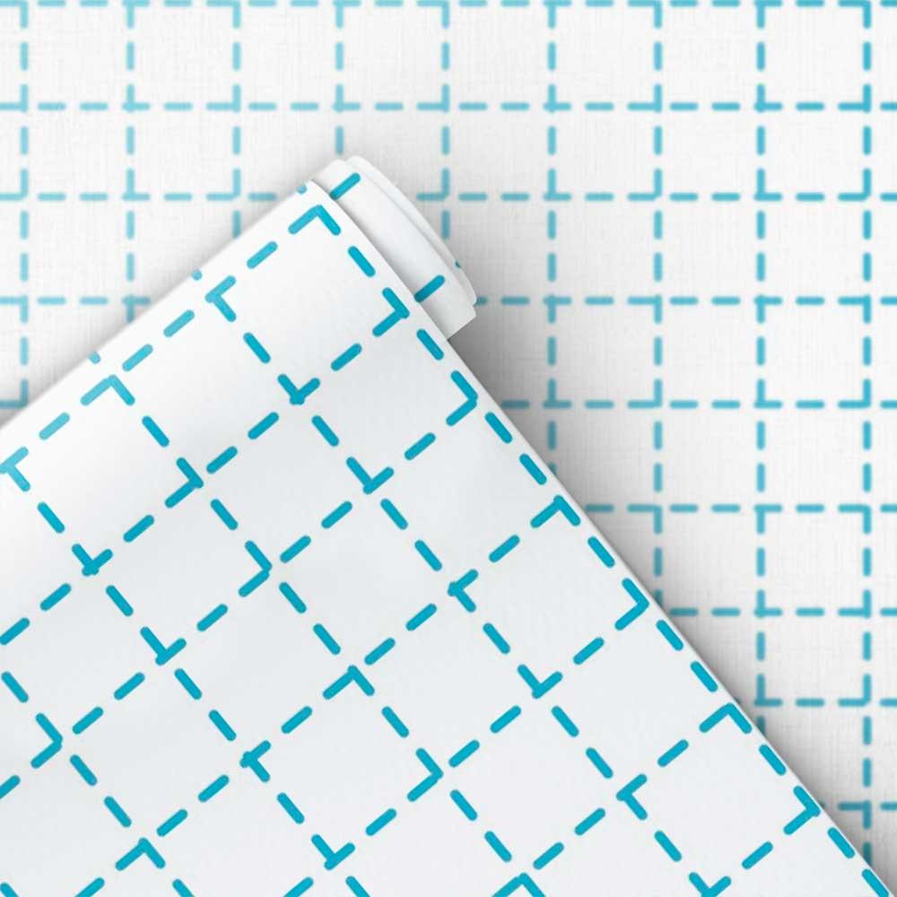 Papel de Parede Infantil - Quadriculado Traços Azul Candy