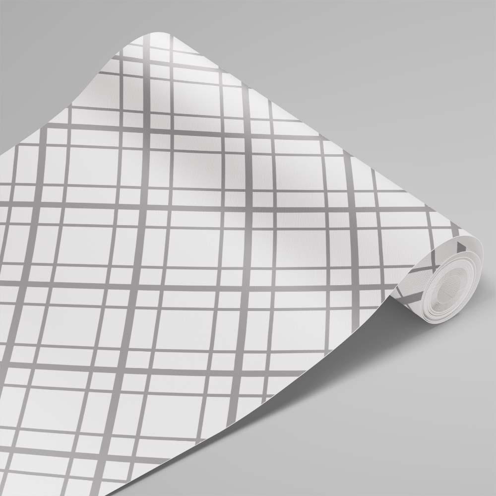 Papel de Parede Linhas Branco e Cinza 2