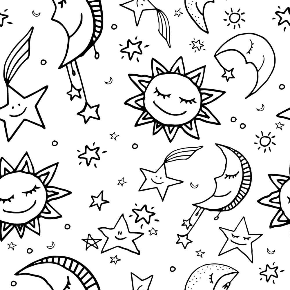 Papel de Parede Lua, Sol e Estrelas 1