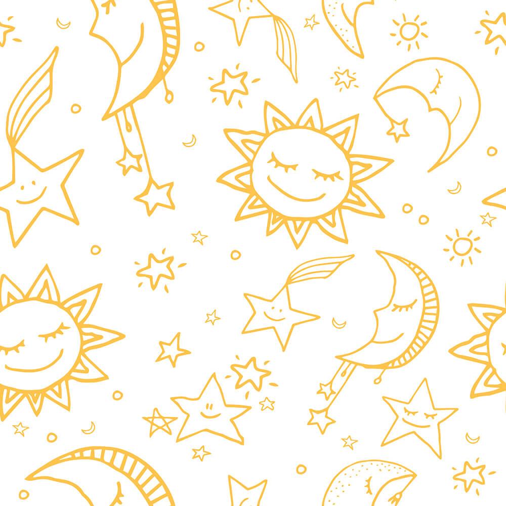 Papel de Parede Lua, Sol e Estrelas 2