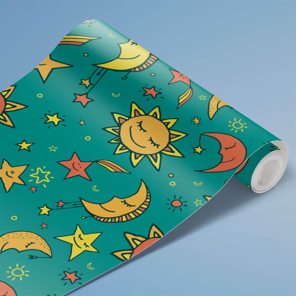Papel de Parede Infantil - Lua, Sol e Estrelas 4