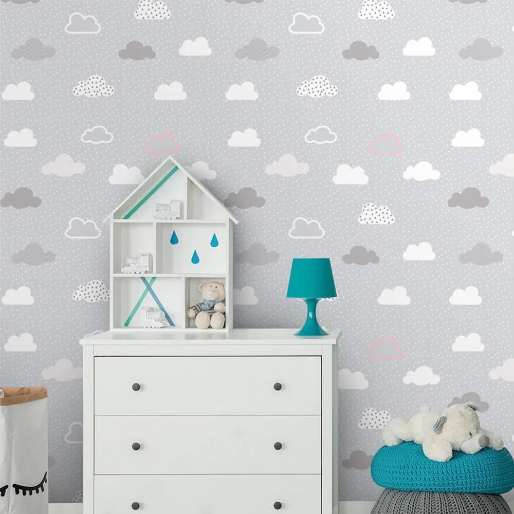 Papel de Parede Infantil - Nuvens Cinza