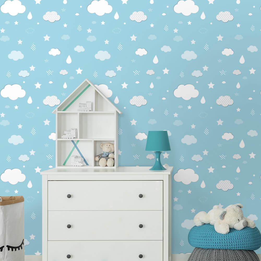 Papel de Parede Nuvens, Gotas e Estrelas