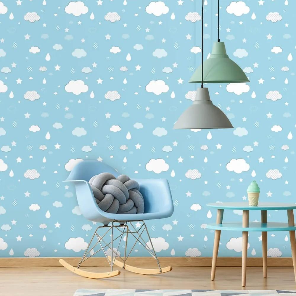 Papel de Parede Infantil - Nuvens, Gotas e Estrelas