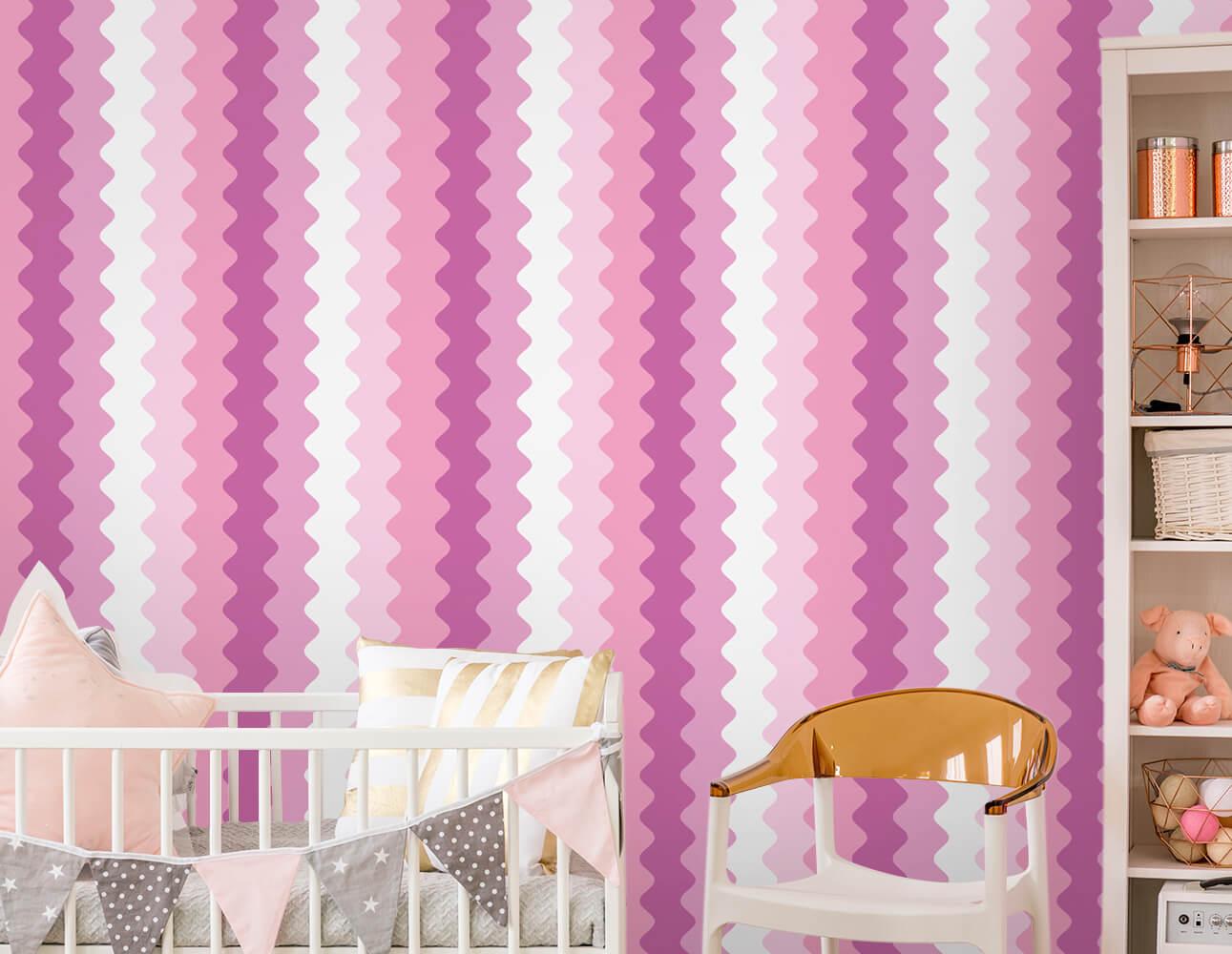 Papel de Parede Infantil - Ondas Verticais Rosa