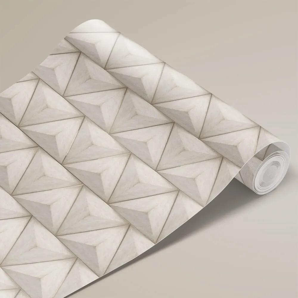 Papel de Parede Tecido de Lona Triângulos 3D