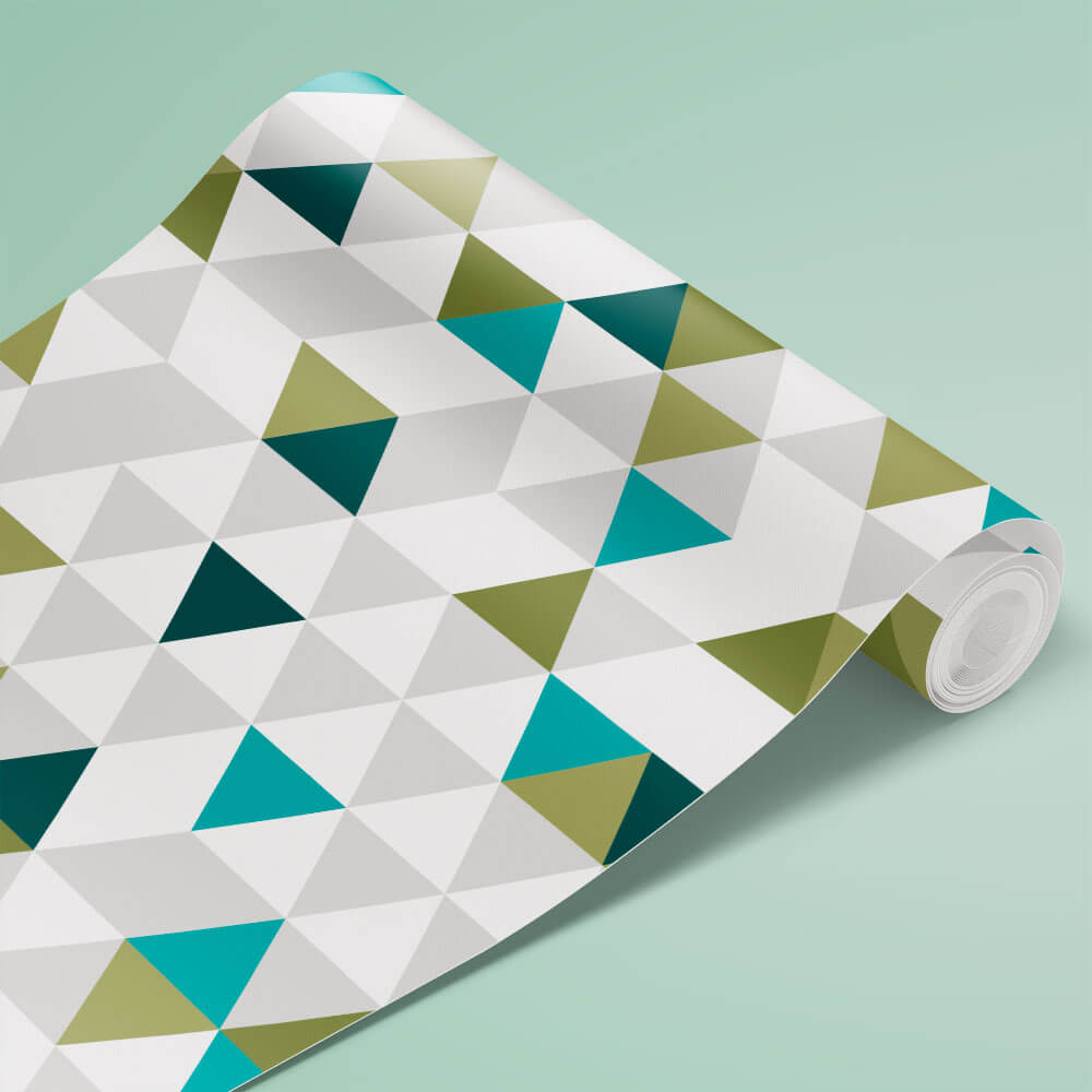 Papel de Parede Triangulo Branco, Cinza, Verde e Azul