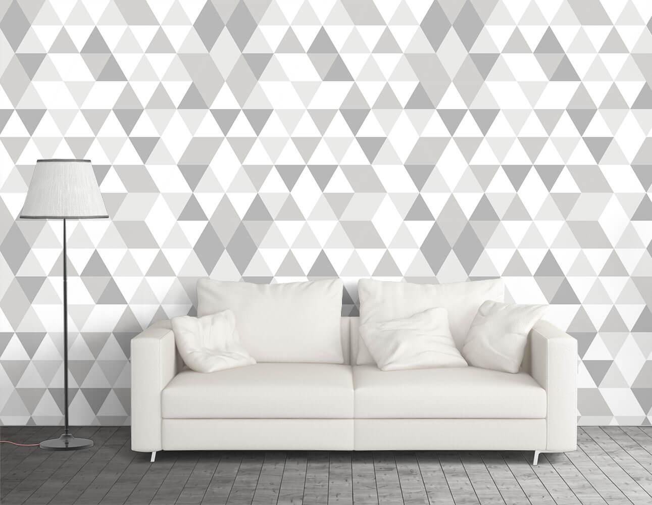 Papel de Parede Triângulos Branco e Cinza