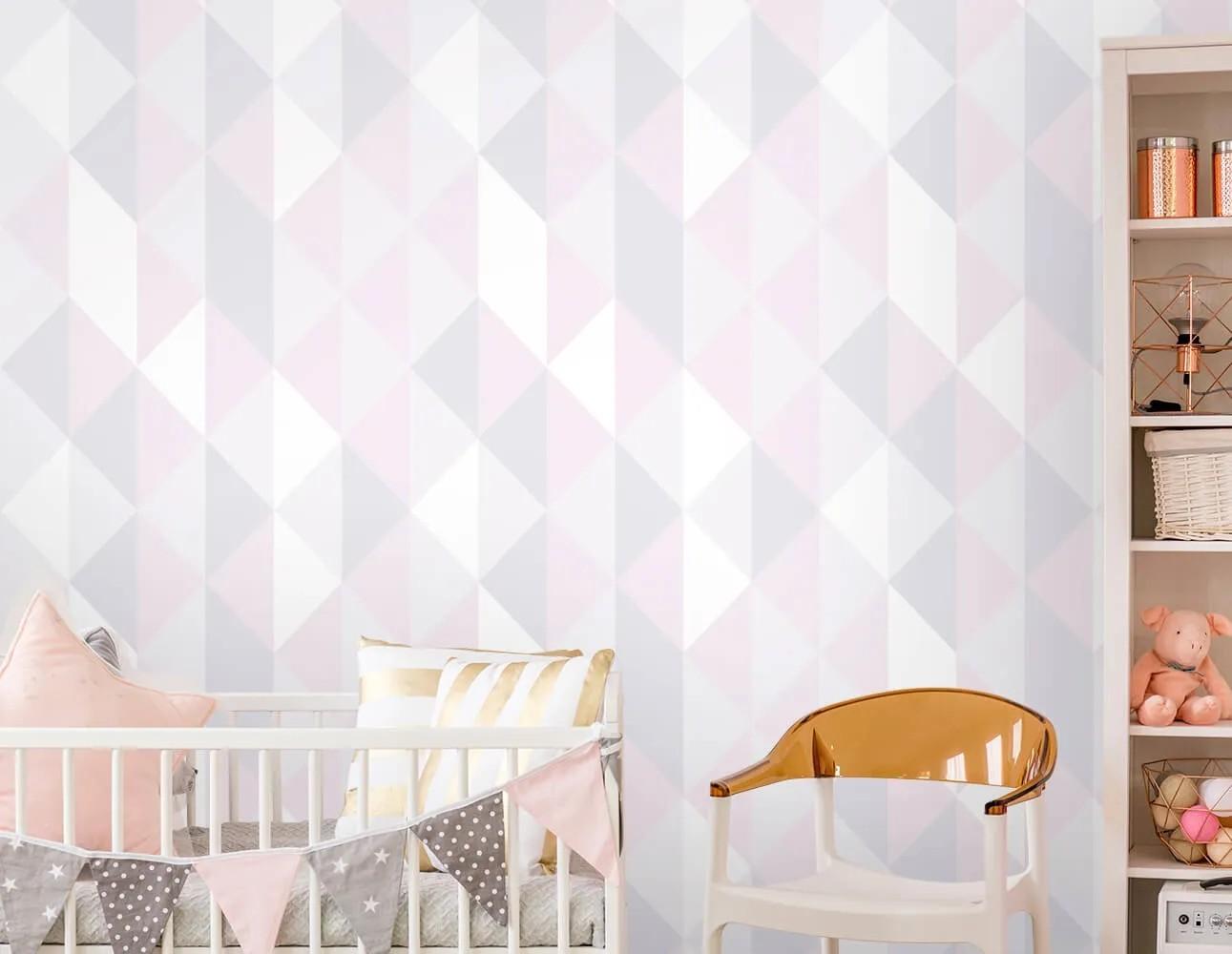 Papel de Parede Triângulos Lilás, Branco e Rosa