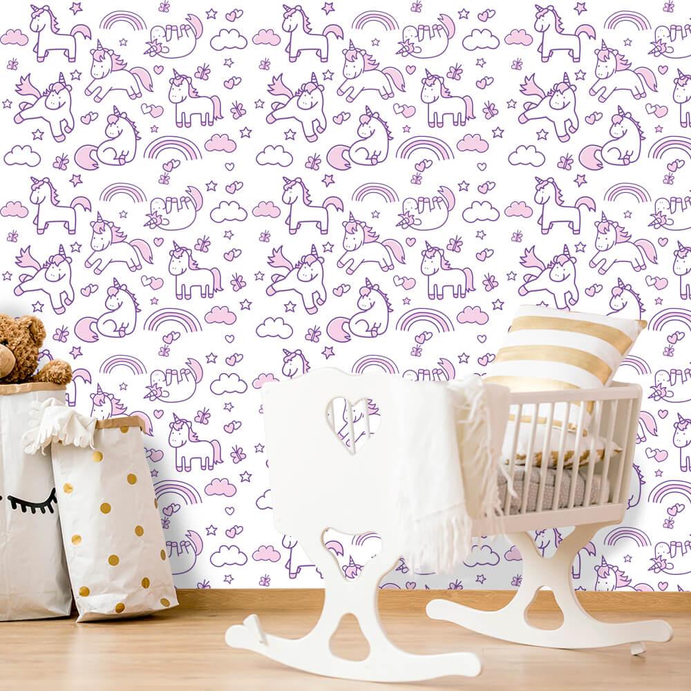 Papel de Parede Infantil - Unicórnios Rosa