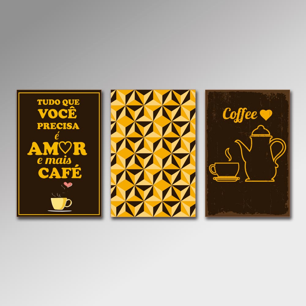 Placa Decorativa - Amor e mais café