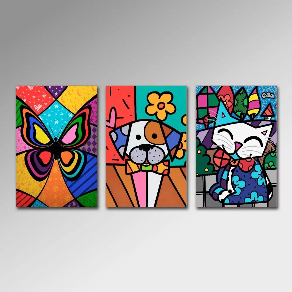 Placa Decorativa - Animais PopArt