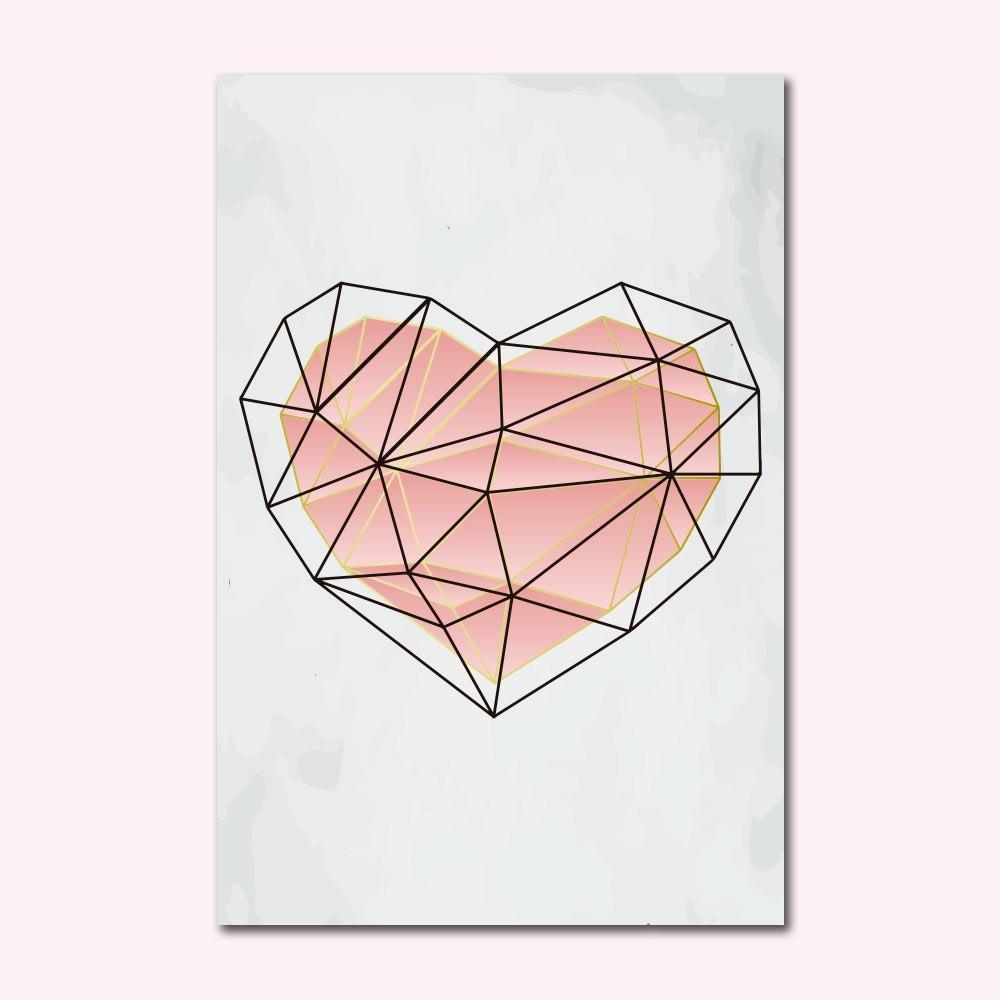 Placa Decorativa - Coração Rose Gold