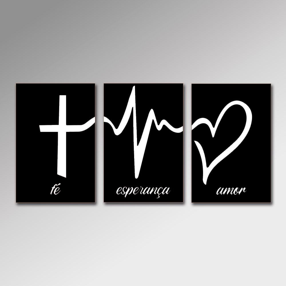 Placa Decorativa - Fé, Esperança e Amor 2