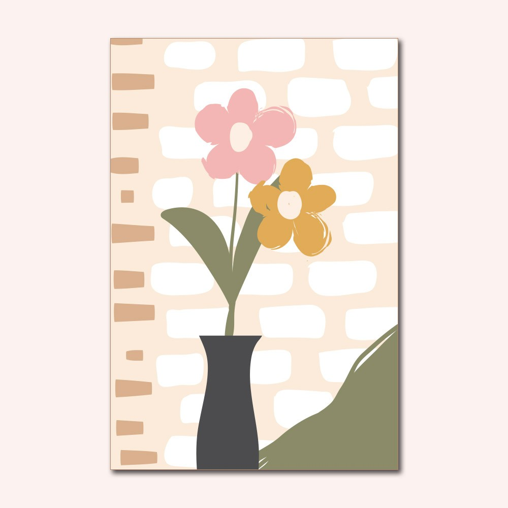 Placa Decorativa - Flores Abstratas
