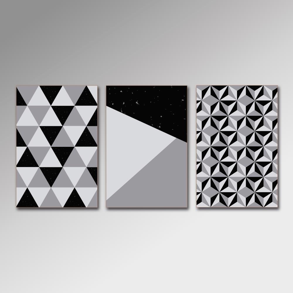 Placa Decorativa - Geométrico Cinza