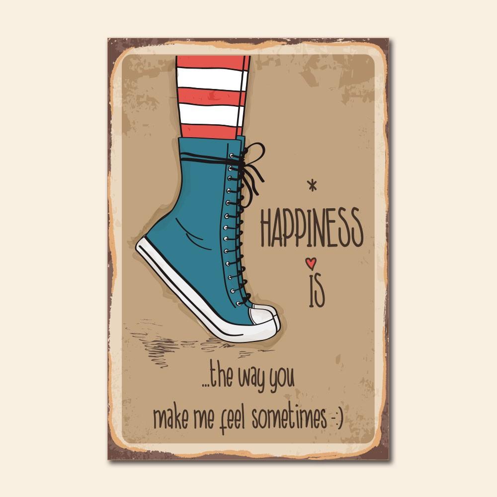 Placa Decorativa - Happiness