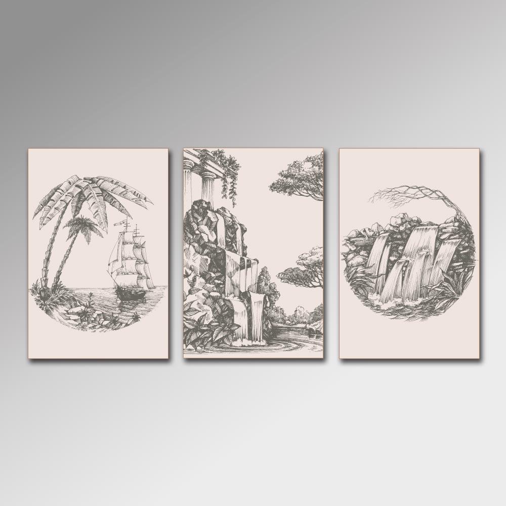 Placa Decorativa - Paisagens Desenhadas