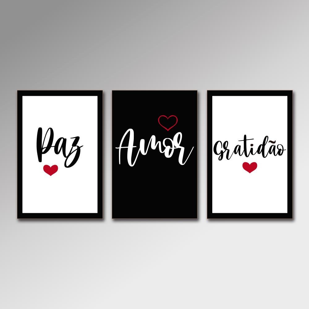 Placa Decorativa - Paz, Amor e Gratidão