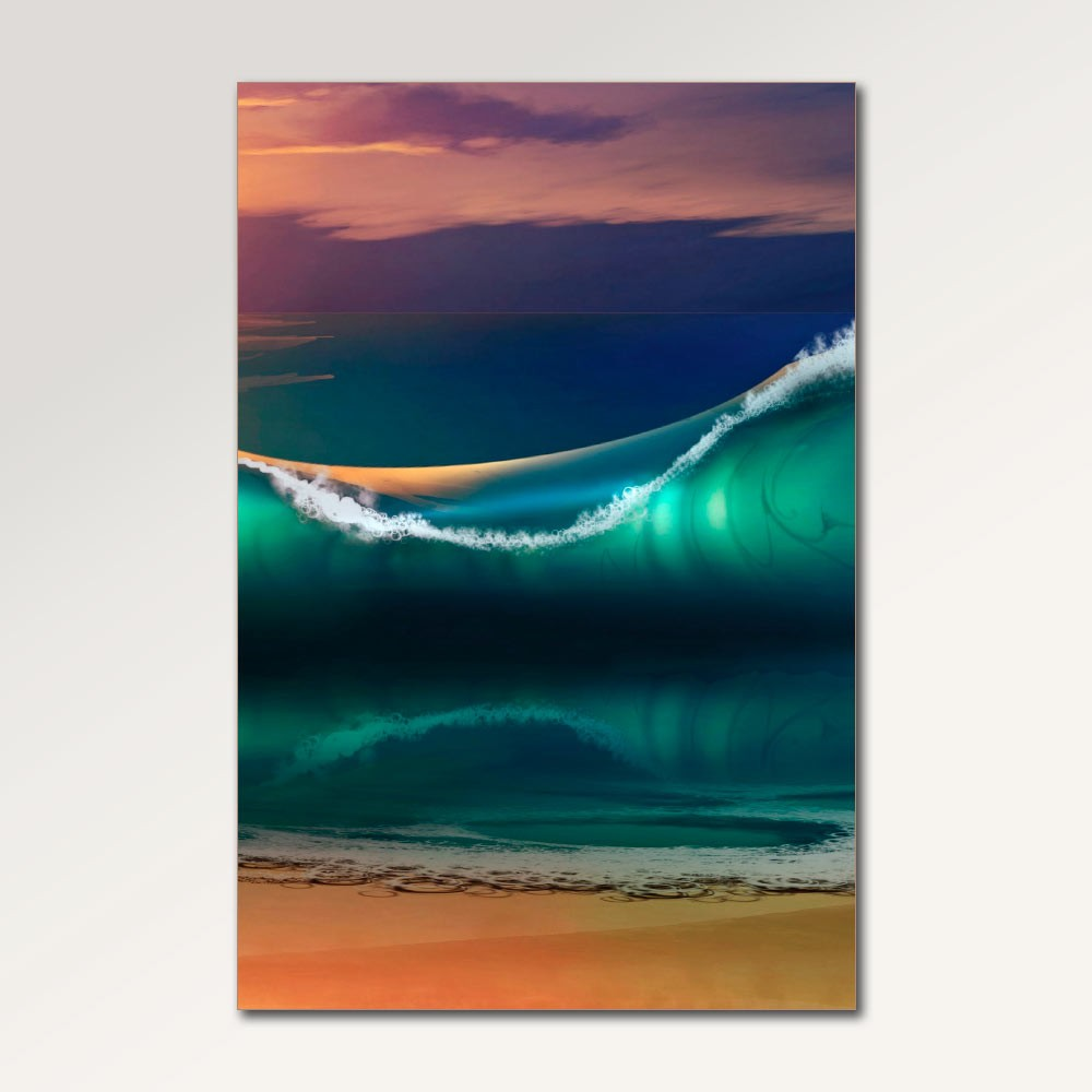 Placa Decorativa - Por do Sol na Praia