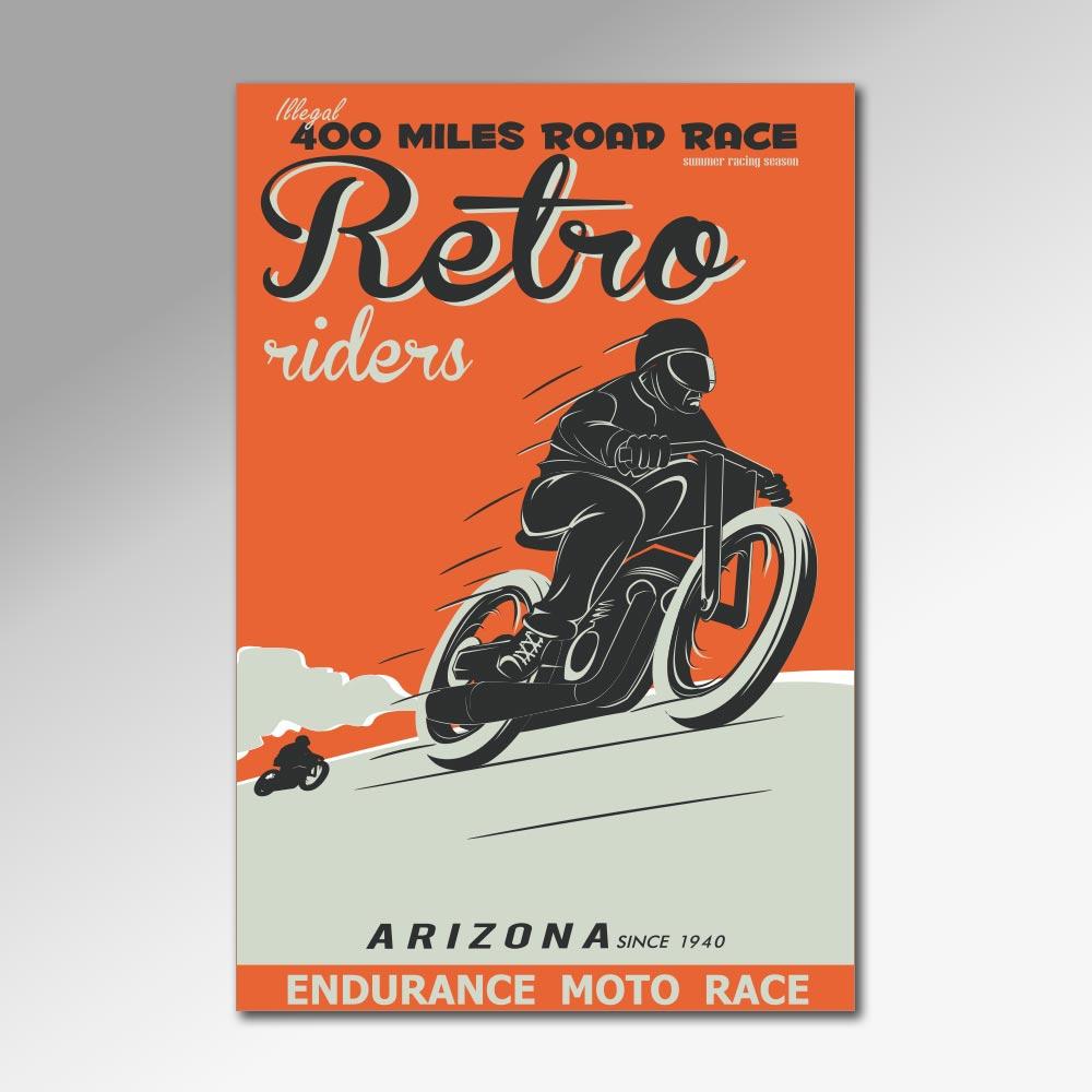 Placa Decorativa - Retro Riders