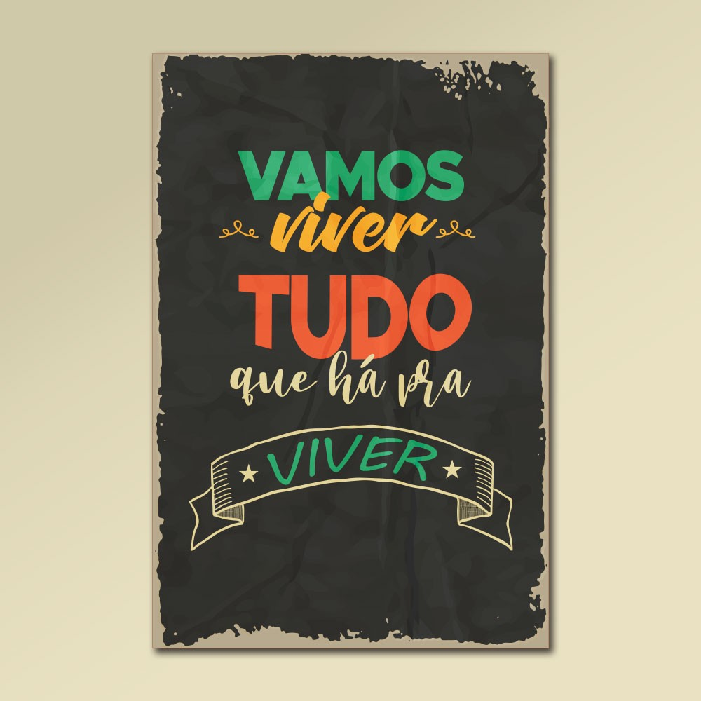 Placa Decorativa - Vamos Viver