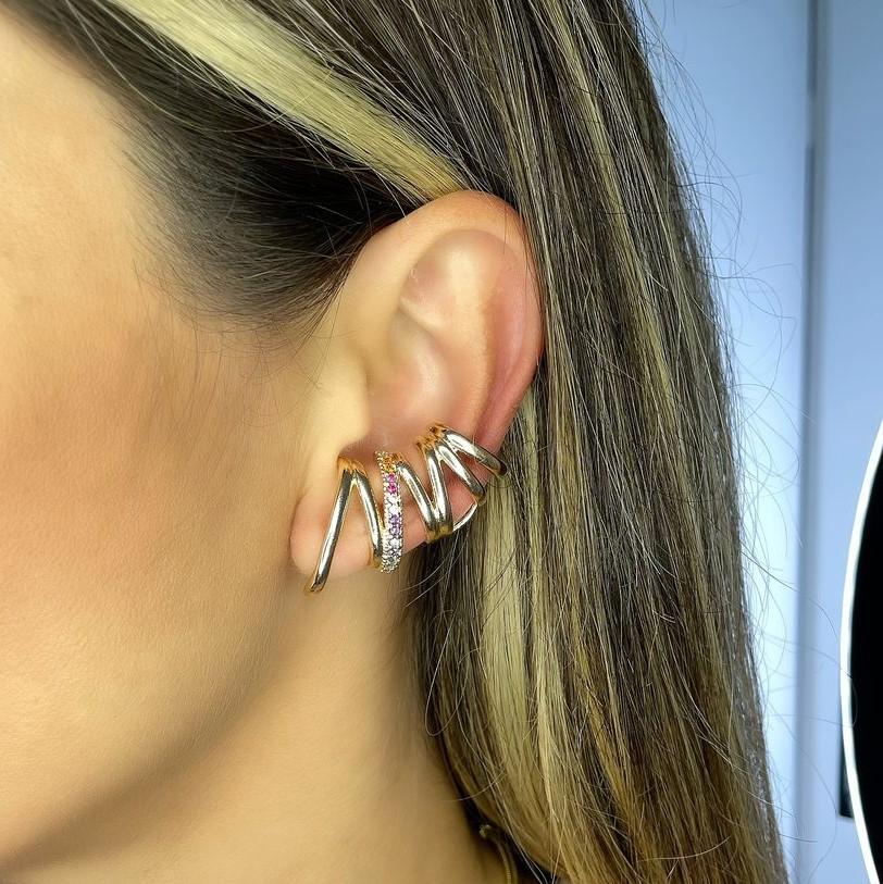 Brinco Ear Cuff Linha Zirconias Coloridas Banho Ouro