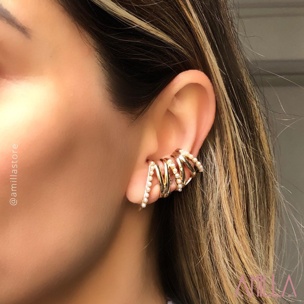 Brinco Ear Cuff Linhas Mini Perolas Banho Ouro