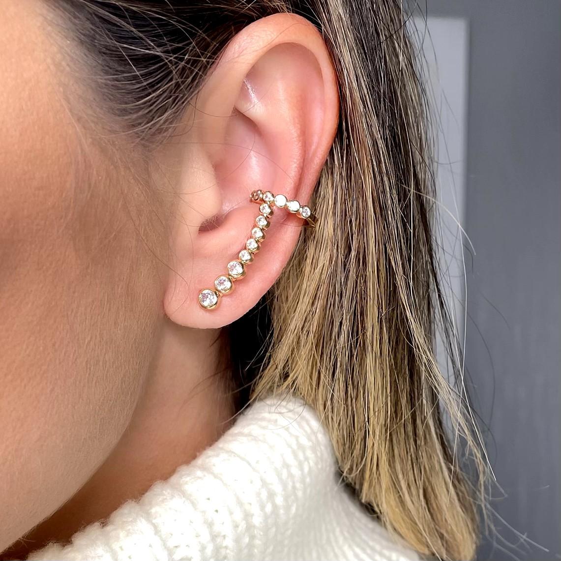 Brinco Ear Cuff Zirconias com Piercing Banho Ouro