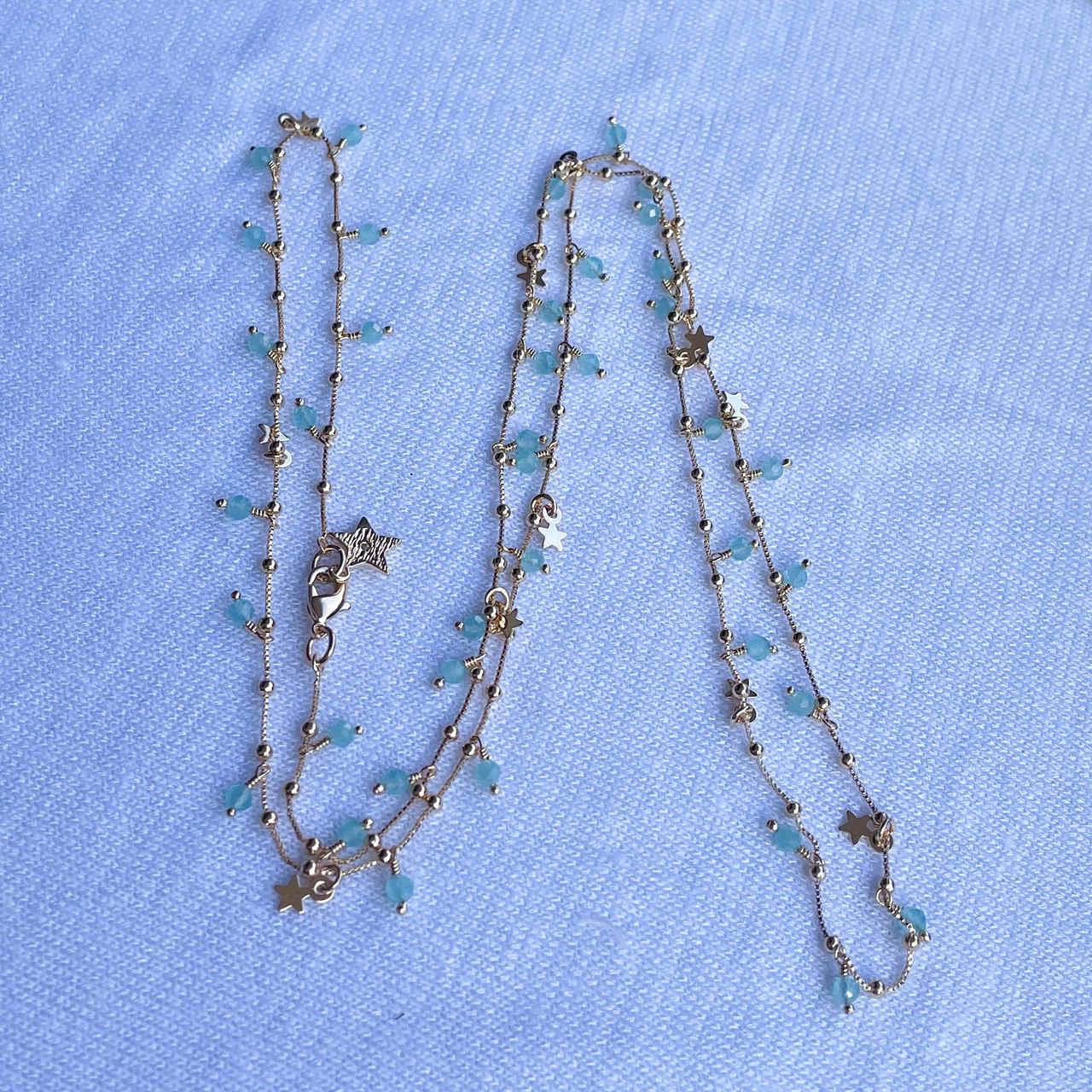 Colar Estrelas 3 em 1 Cristais Azuis Banho Ouro - 70cm