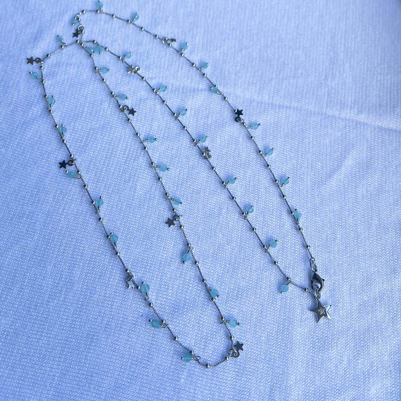 Colar Estrelas 3 em 1 Cristais Azuis Rodio Branco - 70cm