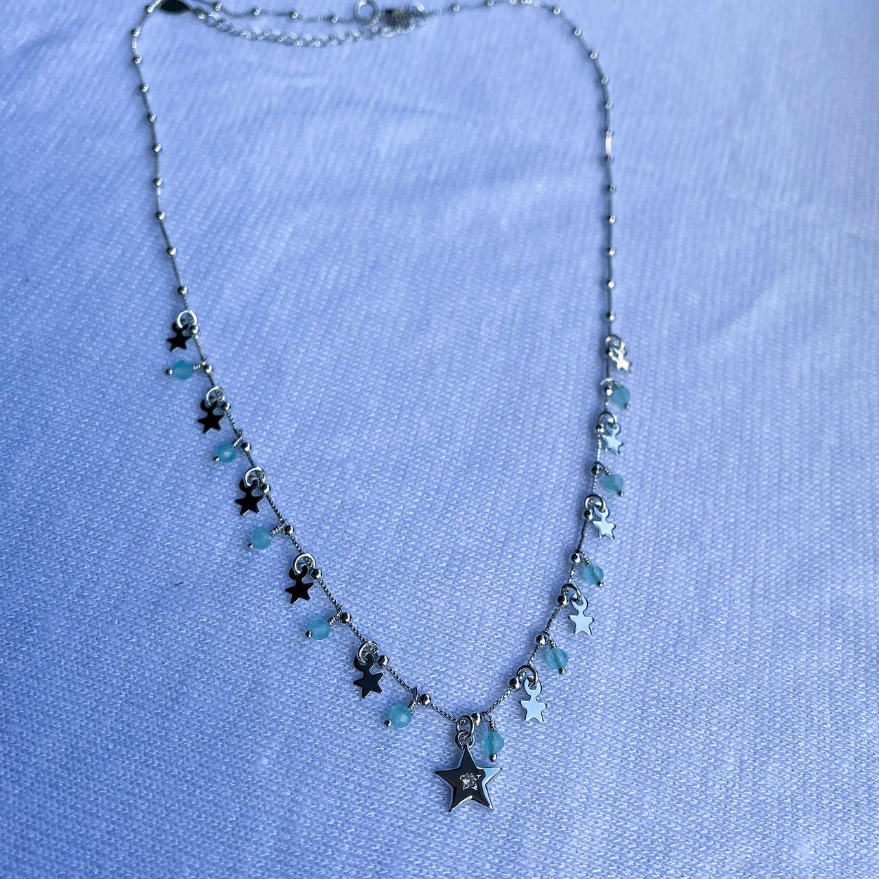 Colar Estrelas Cristais Azuis Rodio Branco