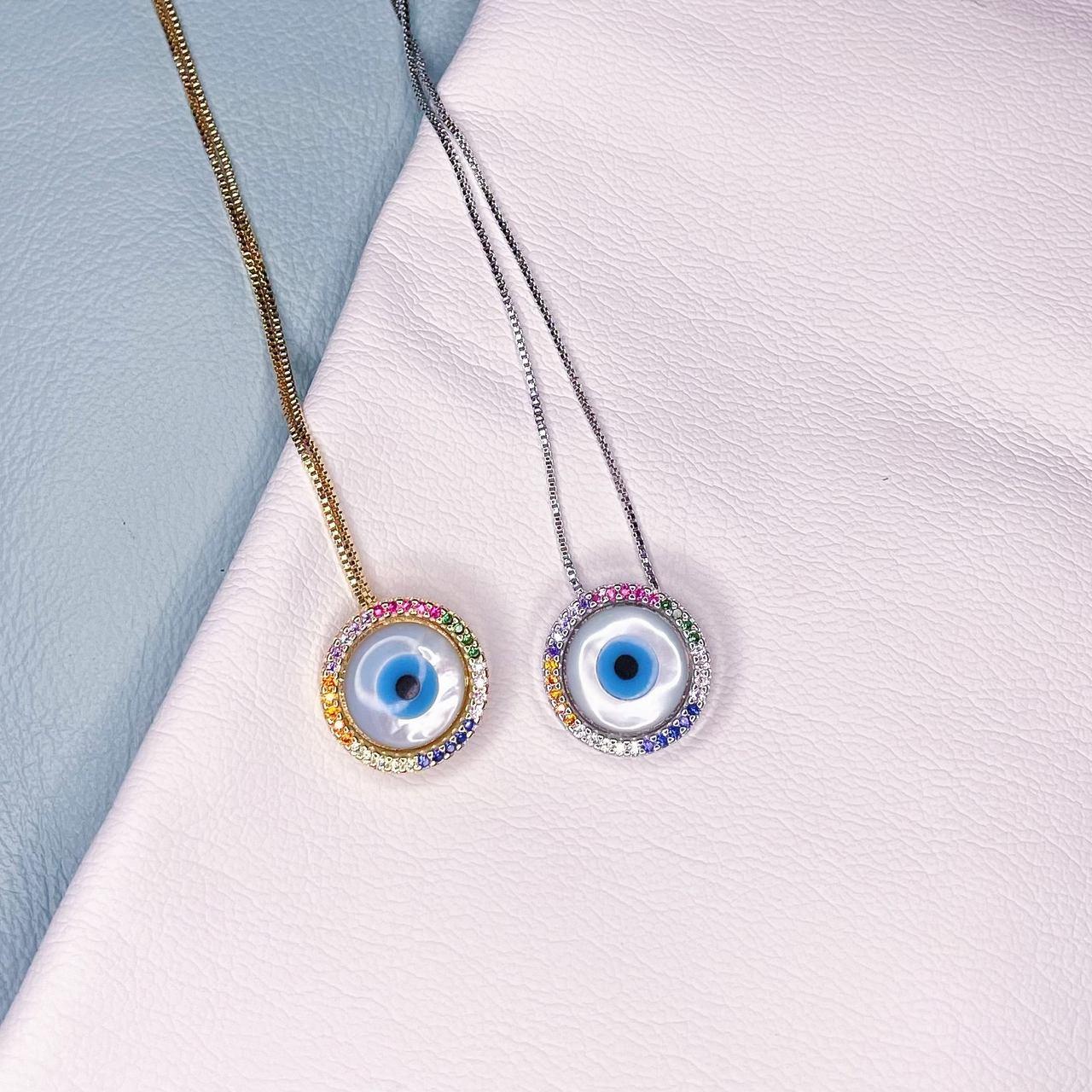 Colar Olho Grego Madre Borda Zirconias Coloridas Ródio Branco