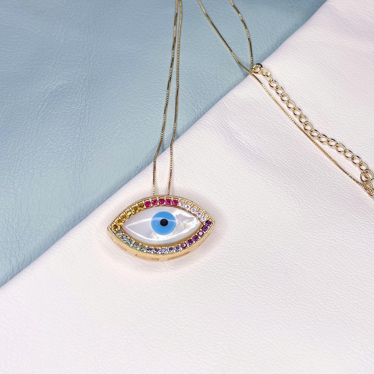 Colar Olho Grego Madre Navete Borda Zirconias Coloridas Banho Ouro