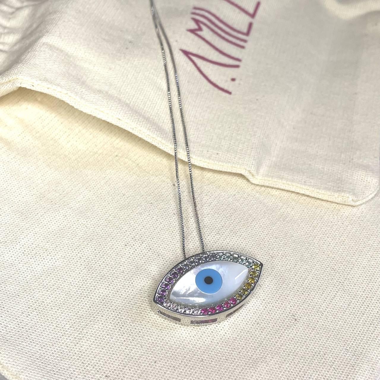 Colar Olho Grego Madre Navete Borda Zirconias Coloridas Ródio Branco