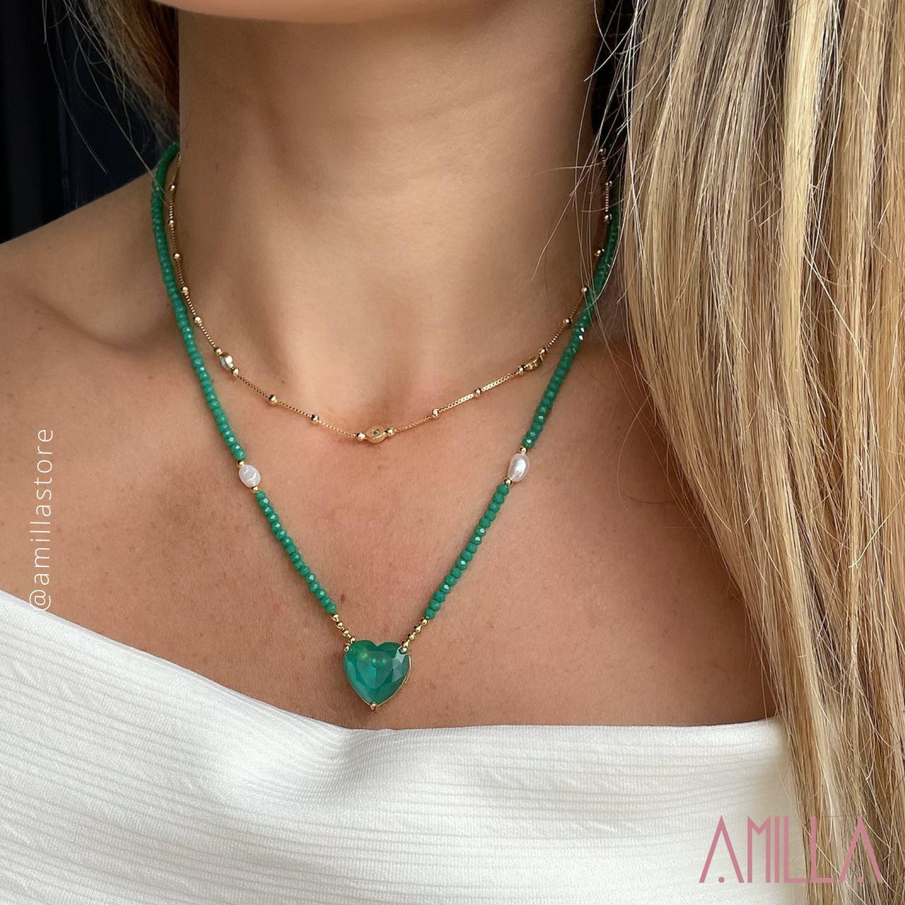 Colar Pedras Verdes Coração Esmeralda Banho Ouro