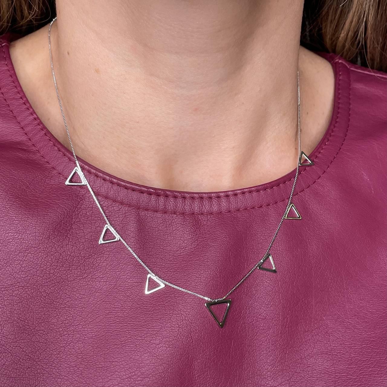 Colar Triangulos Lisos Rodio Branco
