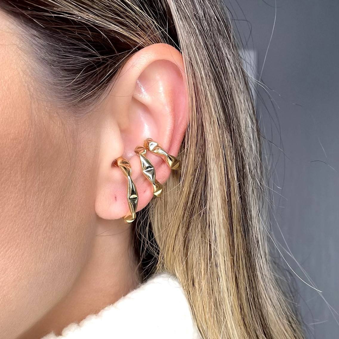 Kit 3 Piercings Juliette Banho Ouro