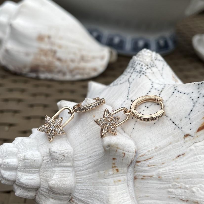Mini Argola Cadeado Estrela Cravejada Banho Ouro