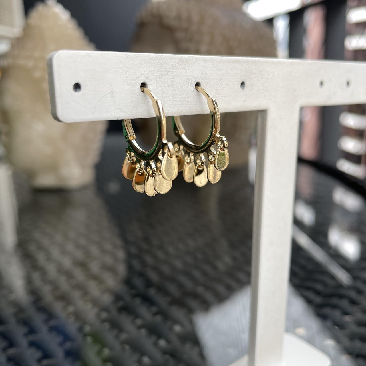 Mini Argola Medalhinhas Gotas Banho Ouro