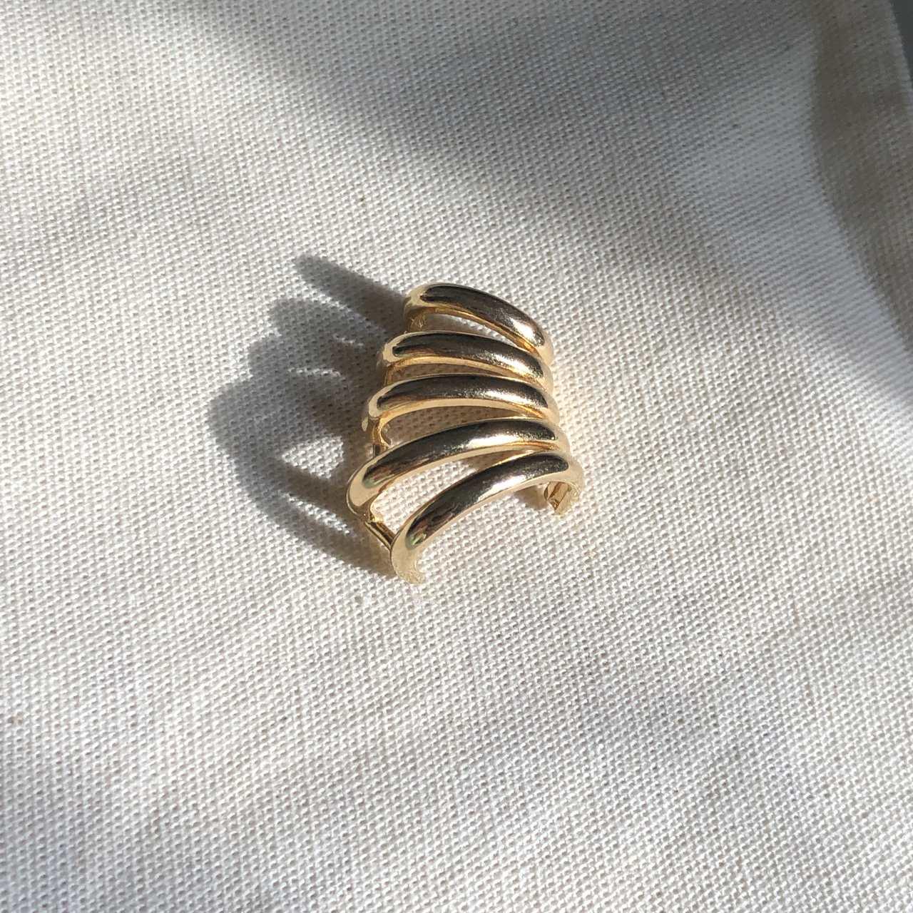 Piercing 5 Linhas Liso Banho Ouro