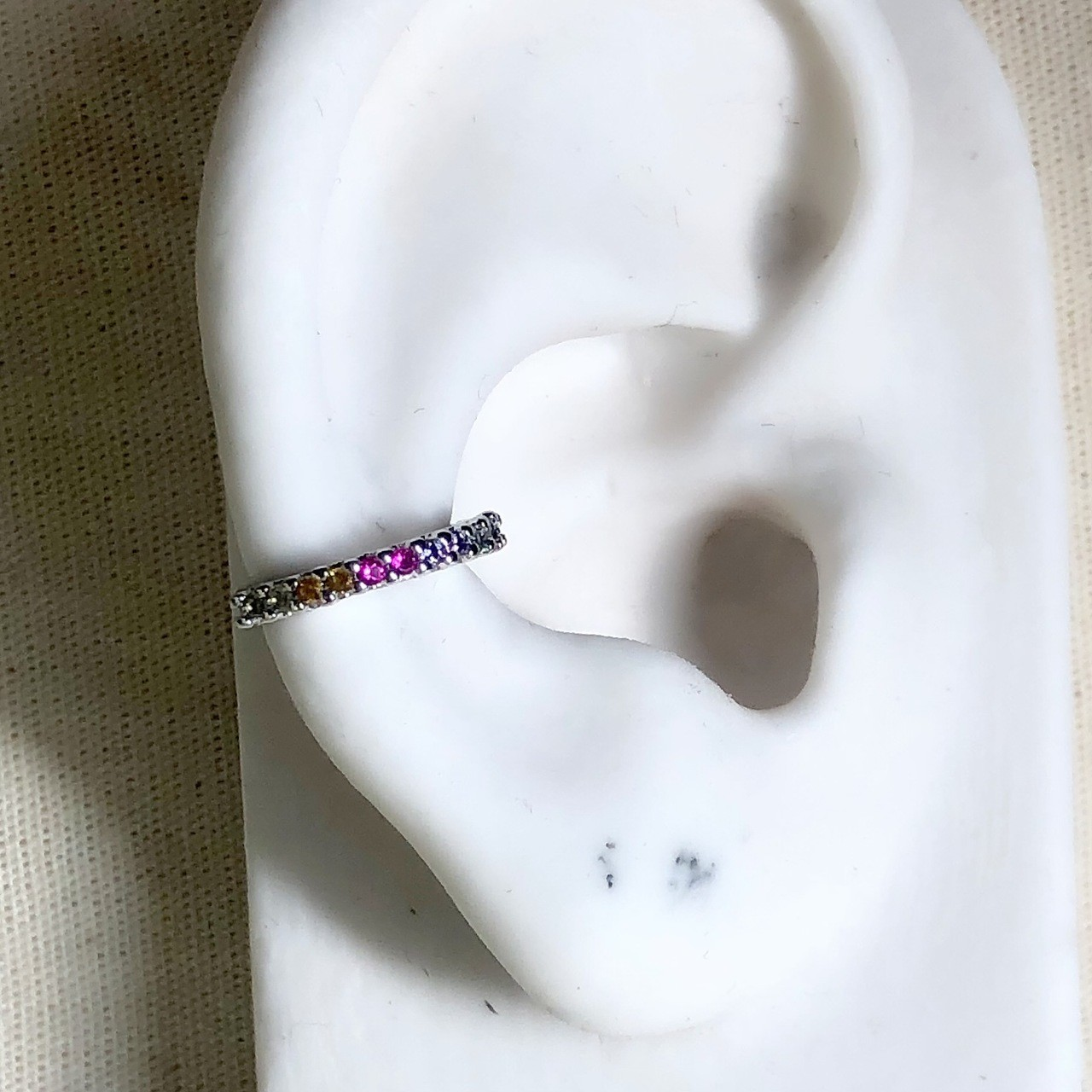 Piercing Garrinhas Zirconias Coloridas Ródio Branco